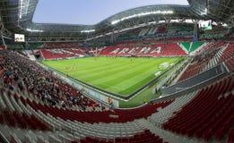 Kazan Arena. Kazan, Tatarstan, Russia - August 9, 2017 Tribunes and a football field at the stadium Kazan-Arena in the break of the football match Stock Photos