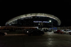 Kazan Arena. Yoshkar-Ola, Russia - August 9, 2017 Photo of the football stadium Kazan Arena, which is located in Kazan, Russia. Night view from the parking lot Royalty Free Stock Images
