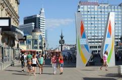 Kazan, Bauman Street. KAZAN, RUSSIA - JULY 21, 2013: Unidentified people are walking along the famous pedestrian street Bauman in Kazan, Russia Royalty Free Stock Photo