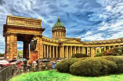 Kazan Cathedral against the backdrop of a stormy sky vector illustration