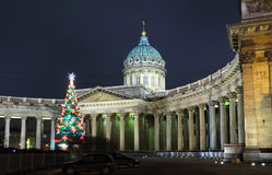 Kazan Cathedral at Christmas - St. Petersburg Royalty Free Stock Photography