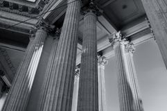 Kazan Cathedral colonnade in St Petersburg, Russia. St Petersburg architecture background in monochrome tones Royalty Free Stock Photo