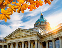 Kazan Cathedral framed by autumn leaves in St Petersburg, Russia at the sunset Royalty Free Stock Photo
