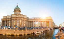 Kazan cathedral and Griboedov channel in St Petersburg, Russia. Architecture panorama of St Petersburg, Russia Royalty Free Stock Photo