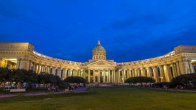 Kazan Cathedral Kazanskiy Kafedralniy Sobor in St. Petersburg during the White Nights in the summer timelapse hyperlapse stock video footage