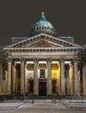 Kazan Cathedral - Russian Orthodox Church in St. Petersburg, Russia. Night photo. Kazan Cathedral - Cathedral of the Kazan Mother of God. Russian Orthodox Stock Photos