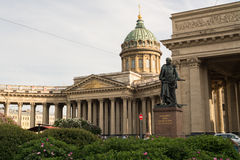 Kazan Cathedral, Saint Petersburg, Russia. Statue outside Kazan Cathedral, Saint Petersburg, Russia on sunny day Royalty Free Stock Photos