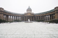 Kazan Cathedral in the snow Stock Image