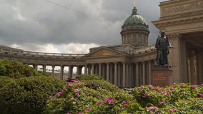 Kazan Cathedral in St. Petersburg on a background cloudy sky stock footage