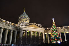 Kazan Cathedral in St. Petersburg by night Stock Image