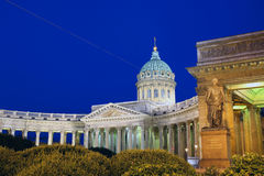 Kazan Cathedral in St. Petersburg at night Stock Image