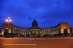 Kazan cathedral in St.-Petersburg at night Stock Photos