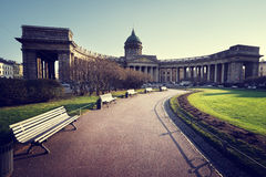 Kazan Cathedral in sunset time, St. Petersburg Stock Photography