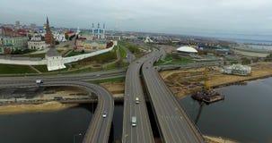 Kazan de brug van het Stadscentrum stock videobeelden