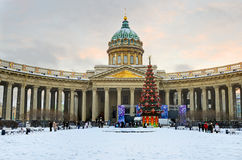 Kazan domkyrka i Petersburg, Ryssland. Arkivbilder