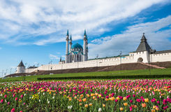 Kazan het Kremlin en kul-Sharif moskee, Tatarstan, Rusland royalty-vrije stock foto