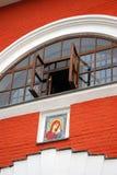 Kazan Icon church facade. KAZAN, RUSSIA - SEPTEMBER 13, 2013: Kazan Icon church facade decorated by icon. Popular landmark and place of pilgrimage Stock Photos