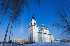 The Kazan icon of the Mother of God church stock image