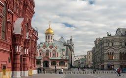 Kazan katedra, Twierdzi Dziejowego muzeum Moskwa ulicy scena Fotografia Stock
