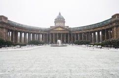 Kazan Kathedraal in de sneeuw Stock Afbeelding
