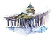 Kazan Kathedraal de Kathedraal in van St. Petersburg, Rusland van Onze Dame van Kazan Waterverf vector illustratie