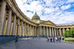 Kazan Kazansky domkyrka på den Nevsky utsikten, St Petersburg, Ryssland arkivbilder