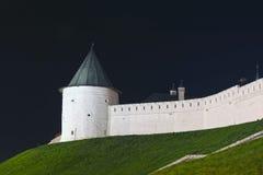 Kazan Kreml på natten Arkivfoton