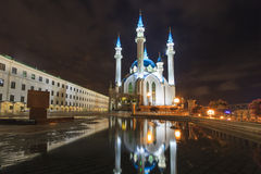 Kazan Kremlin illuminated at night. Royalty Free Stock Photo