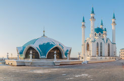 Kazan Kremlin, the Kul-Sharif mosque in the rays of sunset.  Royalty Free Stock Photos