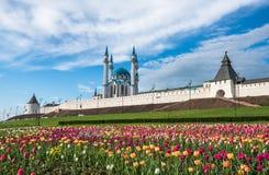 Kazan Kremlin and Kul-Sharif mosque, Tatarstan, Russia. Kazan Kremlin and Kul Sharif mosque, Tatarstan, Russia royalty free stock photo