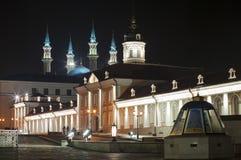 Kazan Kremlin at night, inside view. On the Kul-Sharif Mosque, Kazan, Tatarstan, Russia Royalty Free Stock Image