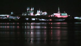 Kazan Kremlin at night time stock video