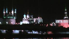 Kazan Kremlin at night time stock video footage