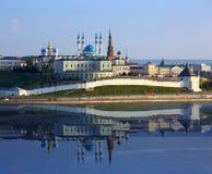 Kazan kremlin with reflection in river at sunset Stock Photos