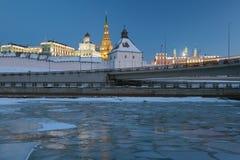Kazan Kremlin in winter evening Stock Image