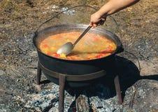 Kazan med att förbereda soppa`-Kharcho ` på insatsen royaltyfri bild