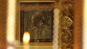 Kazan Pictogram van de Moeder van God stock video