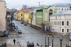 Kazan, Rússia - 25 de março 2017 O centro histórico da cidade é rua de Mislavsky Imagens de Stock Royalty Free