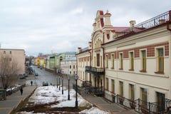 Kazan, Rússia - 25 de março 2017 O departamento da política de alojamento no centro histórico da cidade é rua de Mislavsky Fotos de Stock Royalty Free