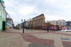 Kazan, Rússia - 25 de março 2017 Rua de Bauman - rua pedestre na parte histórica da cidade Fotografia de Stock Royalty Free