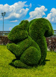 Kazan, Rússia esquilo Figura do Topiary na terraplenagem do Kremlin do rio Kazanka Projeto da paisagem Arte verde Foto de Stock