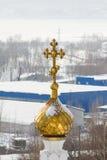 Kazan, Rússia, o 9 de fevereiro de 2017, monastério de Zilant - a construção ortodoxo a mais velha na cidade - Golden Dome Foto de Stock
