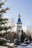 Kazan, Rússia, o 9 de fevereiro de 2017, monastério de Zilant - a construção ortodoxo a mais velha na cidade - torre de sino no i Fotos de Stock