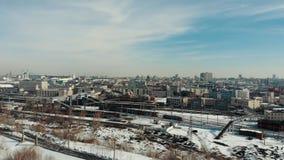 Kazan, Rússia 16-03-2019: Vista panorâmica do centro de Kazan Estação do inverno video estoque