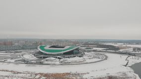 Kazan, Rússia 16-03-2019: Vista panorâmica do estádio de futebol de Kazan vídeos de arquivo