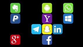 Kazan, R?ssia - 29 de julho de 2017: Anima??o de aparecer de logotipos sociais populares dos meios ilustração stock