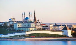 Kazan, Republic of Tatarstan, Russia. View of the Kazan Kremlin. With: Presidential Palace, Soyembika Tower, Annunciation Cathedral, Qolsharif Mosque from the Royalty Free Stock Photos