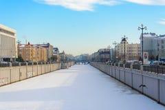 Kazan republik av Tatarstan, Ryssland Vinterkanal arkivbilder