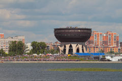 Kazan, Rosja - 22 Jul, 2017: Kazanka bulwar przy centrum rodzinny ` Kazan ` podczas akci Obraz Stock