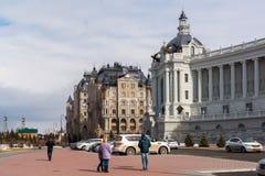 Kazan Rosja, Marzec, - 28 2017 Dom rolnicy i mieszkaniowy powikłany pałac bulwar Obraz Stock